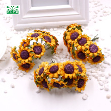 Mini Sunflower Artificial paper Flower Bouquet Home Wedding Table Decor 10pcs/ 3*8CM