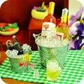 1:12 Миниатюрный Кукольный Домик Кукольный Дом Пива Бутылка + Ведро + Ice Cube + Чашки Играть Дома Еда Игрушка Аксессуары