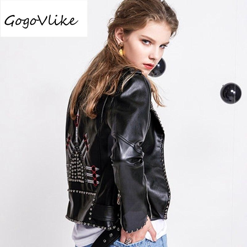 Rivet Motor leather jacket punk rock Embroidery heart short design chaqueta cuero mujer PU leather coat