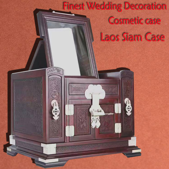 Finest Laos Siam rosewood cosmetic case jewelry box organizer
