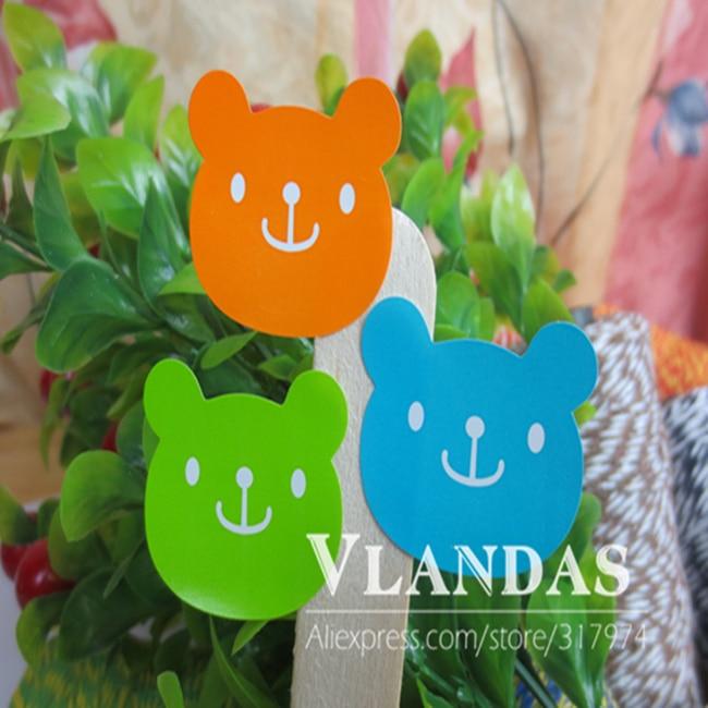 800 шт./лот 3 цвета Симпатичный медведь Форма печенье подарок Стикеры, клей Стикеры, stk-008