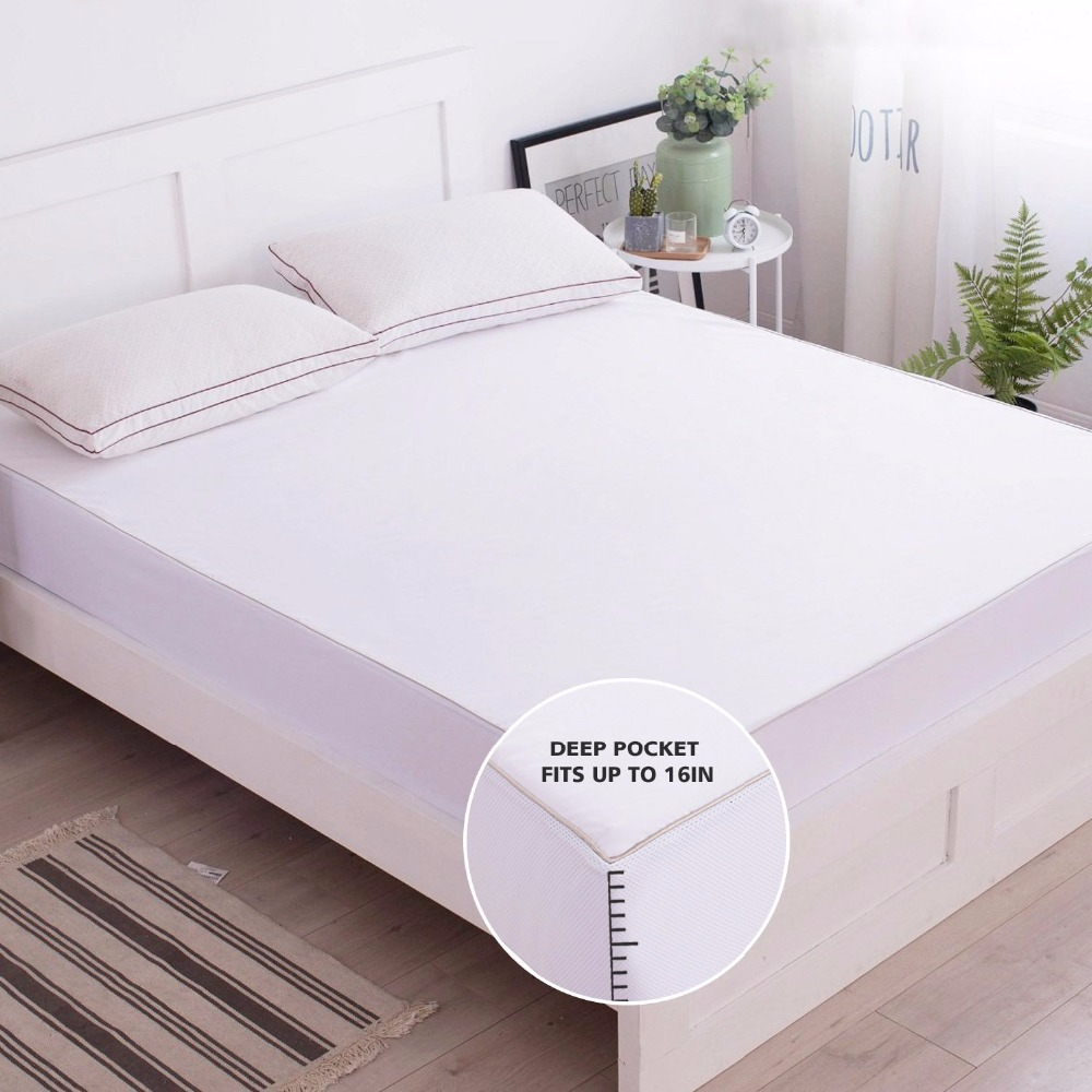 100% Waterproof Queen Mattress Protector In Bedding Sets Terry Cloth Fabric Cotton King Mattress Cover