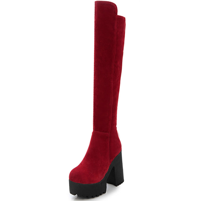 Red dress knee high boots 16