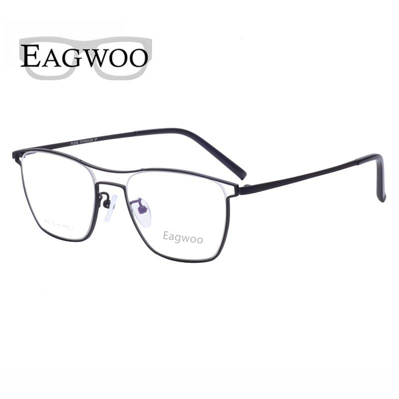 Pure Titanium Eyeglasses Frame Vintage Men Optical Frame Prescription Spectacle Double Bridge Designed Glasses For Wide Face