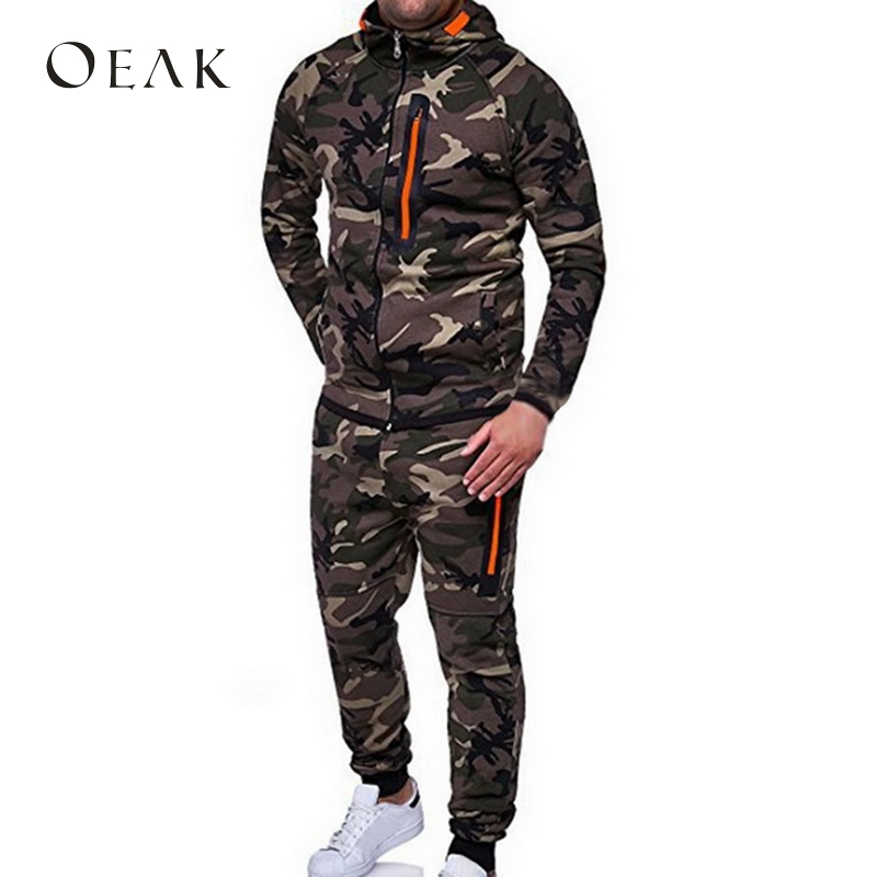 Oeak Autumn Winter Camouflage Men Suits Patchwork Men's Sportswear Tracksuit Two Pieces Set Drawstring chandal hombre