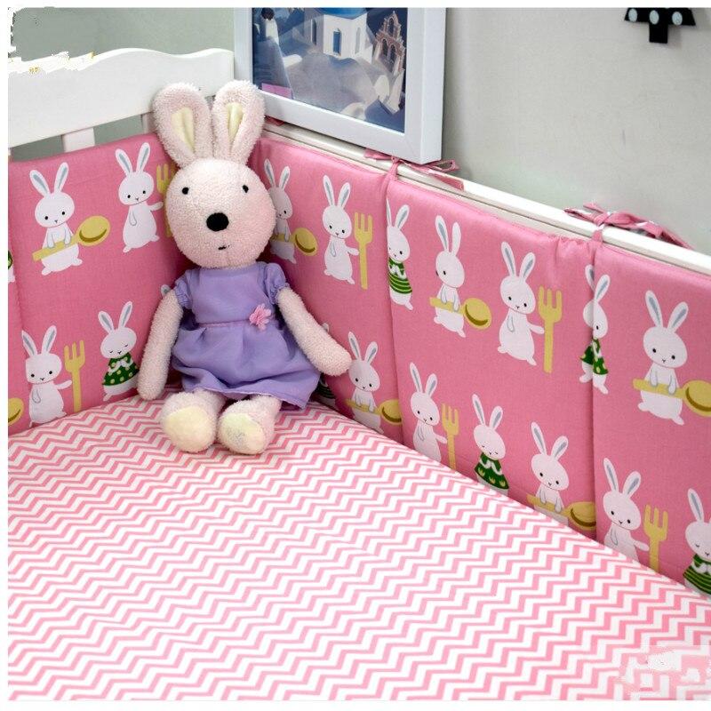4 pièces bébé berceau pare-chocs rose bleu rabbite berceau protection coton bébé lit pare-chocs ensembles de literie pour filles et garçons