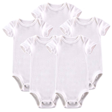 Купить с кэшбэком Newborn Bodysuits Baby Babies Unisex White Summer Short Sleeve Cotton Infant Clothes 0-12M