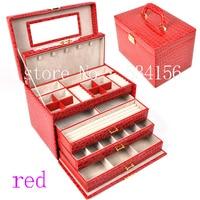 Роскошные практические Шкатулка большие 4 слоя красные серьги дисплей окно Кожа Подарочная коробка