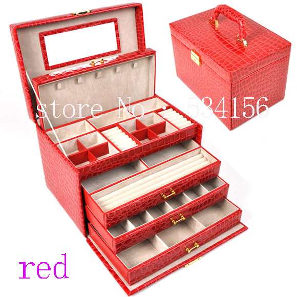 luxury Practical jewelry box casket big 4 layers red earrings