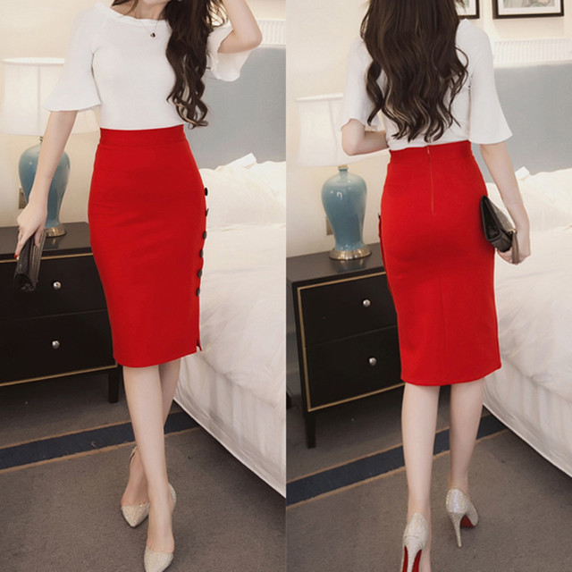 Womail Skirt Women Summer Sexy Casual Pencil Skirt Ladies High Waisted Button Office Skirt Multiple Size NEW 2019 dropship M28