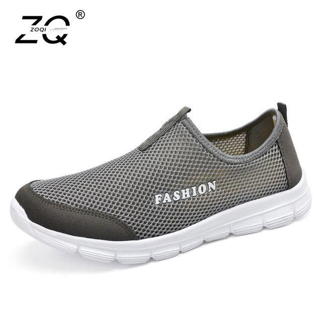 ZOQI Unisex Sneakers Leves Homens Malha Respirável Sapatos Baixos Casuais Deslizar Sobre Mocassins Sapatos Casuais Sapatos de Moda Masculina Mocassim Masculino