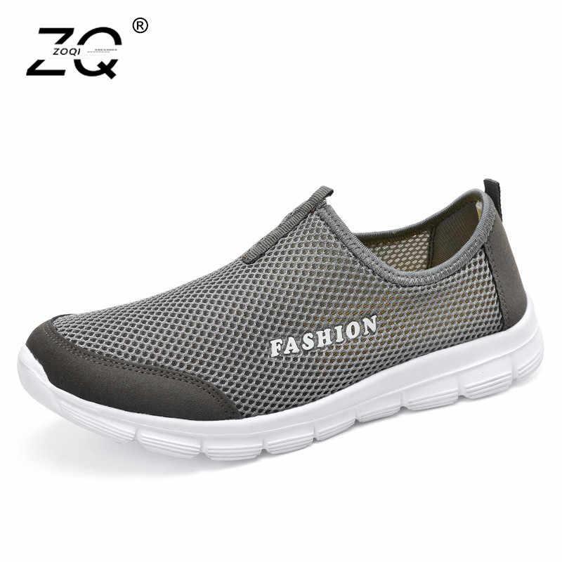 5eeaa46c ZOQI унисекс Повседневные Легкие кроссовки мужские дышащие, сетчатые обувь  мужские модные Mocassim Masculino слипоны Лоферы