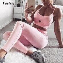 Merek 2017 Sexy Berongga wanita Vertvie Olahraga Pink Padat Sport Set Push Up Yoga Bra Rompi + Celana Legging latihan Sportwear