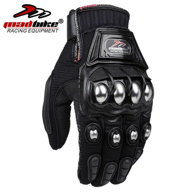 MADBIKE Stainless Steel Motorcycle Gloves Black Blue Motocross Gloves Guanti Motorbike Protective Guantes Luvas Para Moto