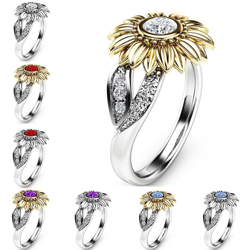 Wedding-Rings Crystal Sunflower Hot-Sale Unique Allergy 9-Colors 1PC Free-Graceful Exquisite
