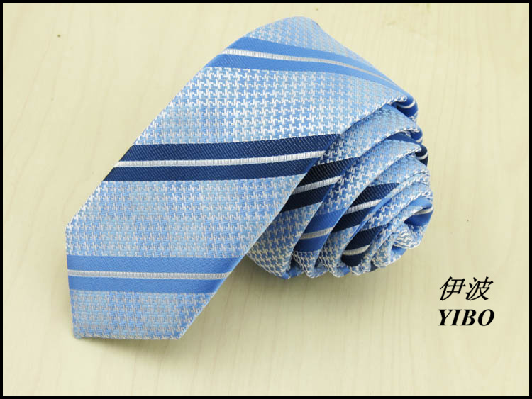 Mens Classic sky blue necktie/navy and blue parallel bars stripe design/Man high quality accessories 5cm wide narrow tie