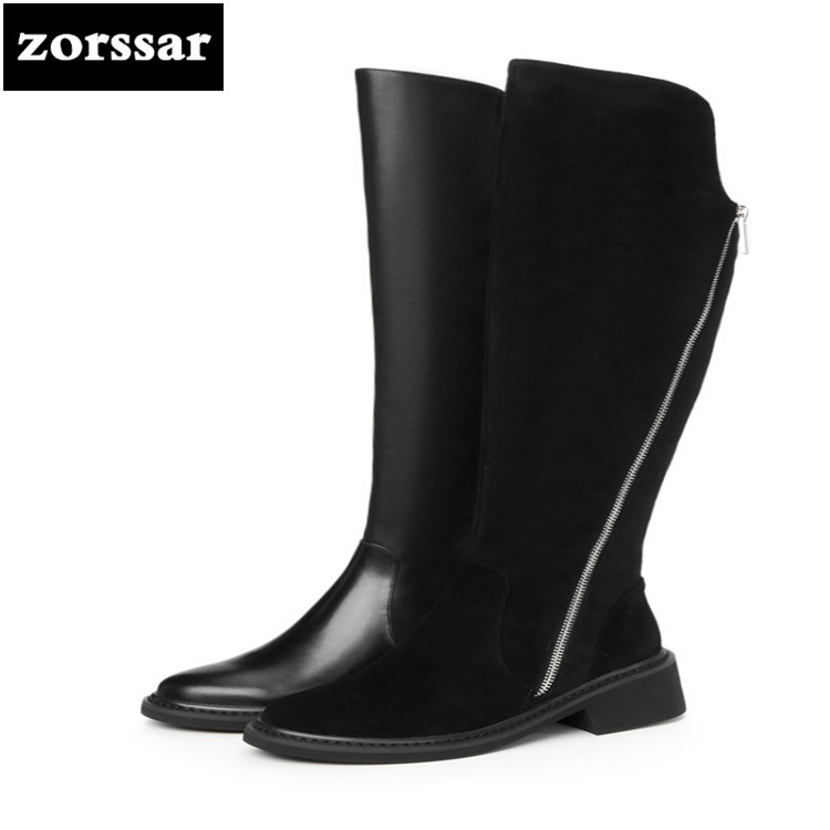 {Zorssar} 2018 New arrival Warm snow Boots Women Over the knee boots High heel Genuine Leather riding boots Winter women shoes new arrival winter flat heel over the knee women boots round toe snow boots knee high warm winter female boots black brown white