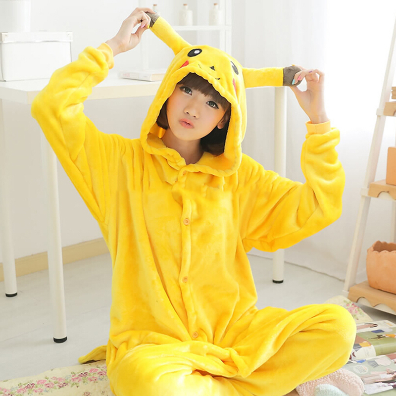2019 New Adult Child Flannel Cosplay Costume Pikachu Onesie Costumes For Unisex Create Dance Fancy Pajama Halloween Party