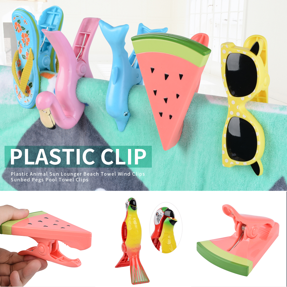 Personalised Beach Towel Pegs: Stronging Plastic Color Clips Animal Type Beach Towel