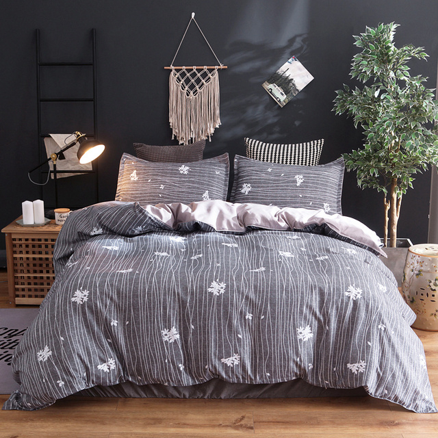 Grey quilt cover bed linen set Single Double Queen King Super King Twin Full Queen King Super King Size Modern Duvet Cover set