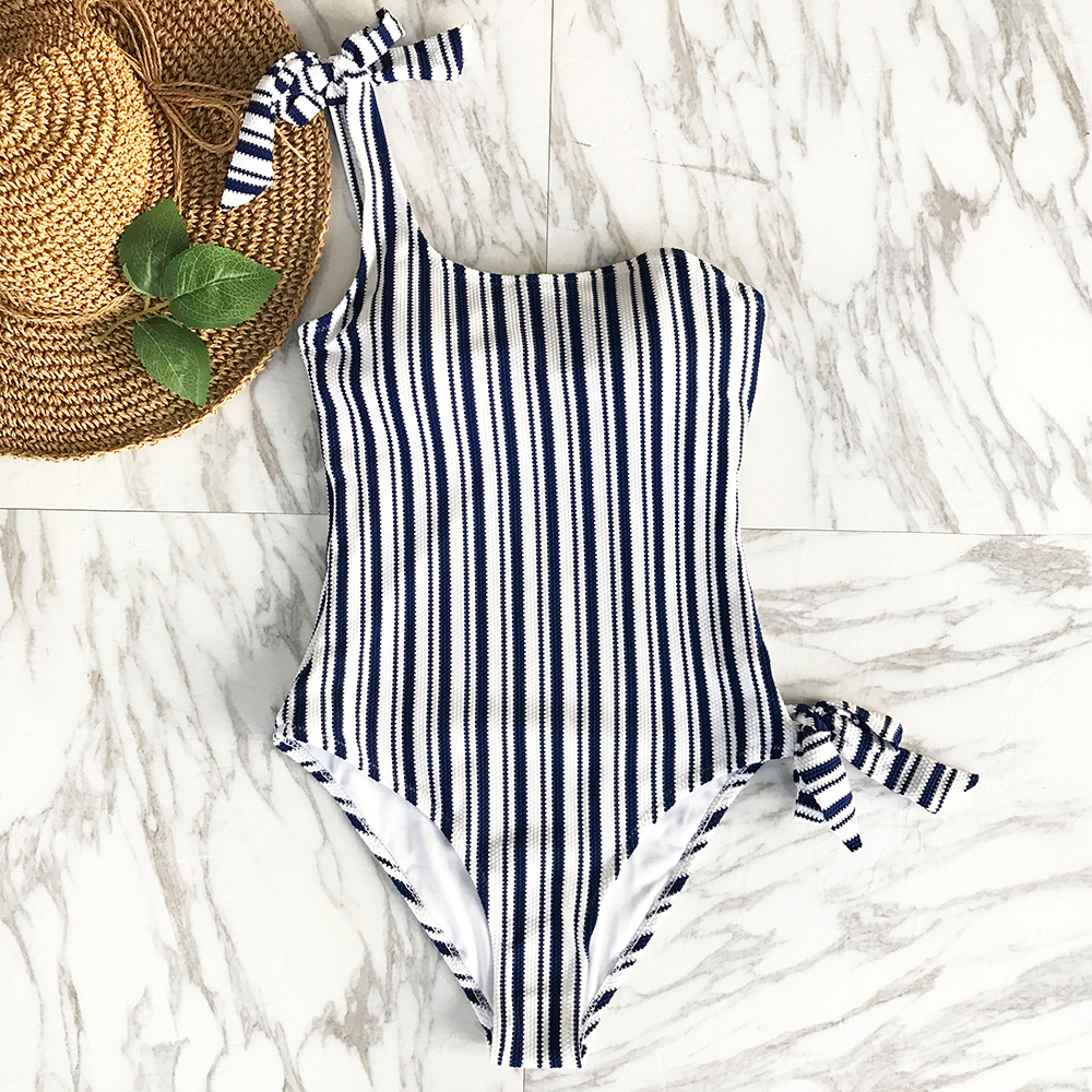 CUPSHE Patron Of The Moon Stripe One-piece Swimsuit Summer Sexy Off Shoulder Bikini Set Ladies Beach Bathing Suit Swimwear cupshe floral printing one piece swimsuit women summer sexy swimsuit ladies beach bathing suit swimwear