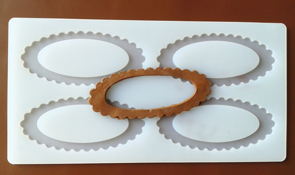 FXC010 4 even Oval Frame Mirror Silicone Chocolate Mold Chocolate Chip Card Sugar Mold Cake Decoration Mold