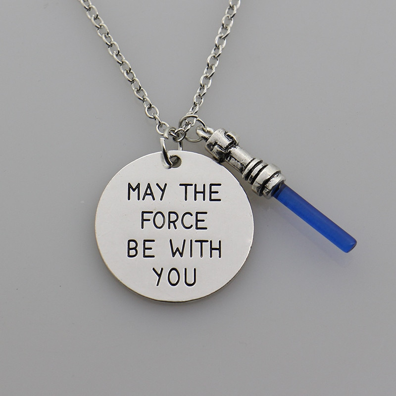 2019 Star Wars May the Force be with you Hand Stamped Necklace,the Force Awaken Sword of Light Lightsaber Pendant Movie Jewelry