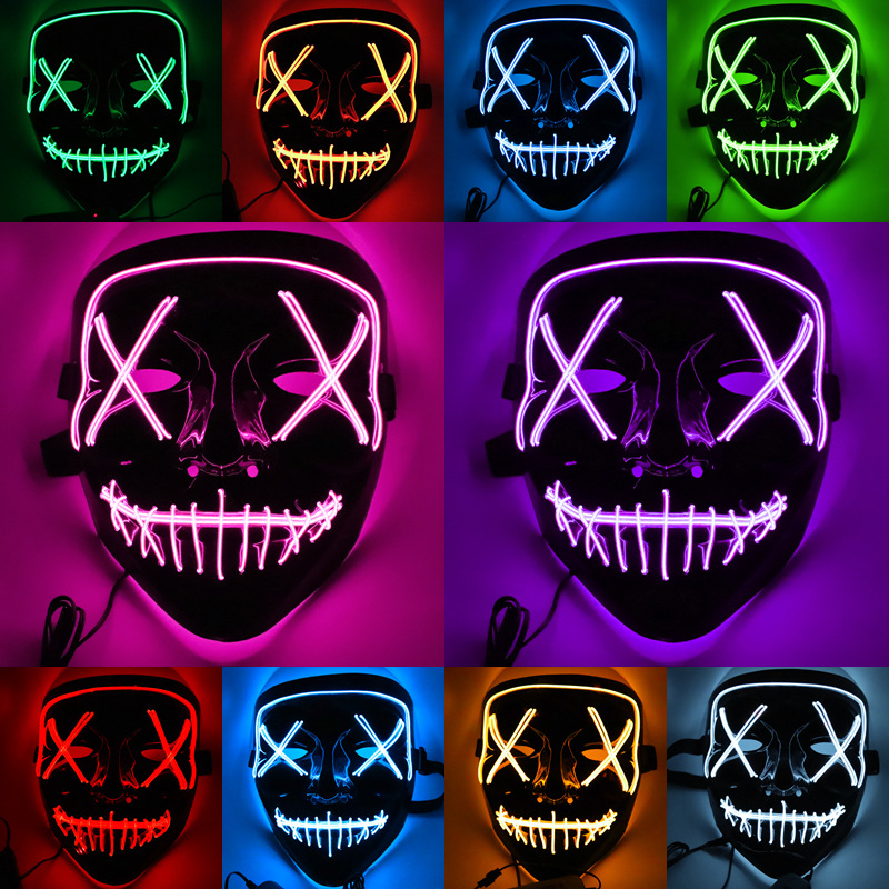 Colorful LED Party Mask Light Up Masks The Purge Election Year Funny Masks Halloween Festival Cosplay Supplies Glow In Dark