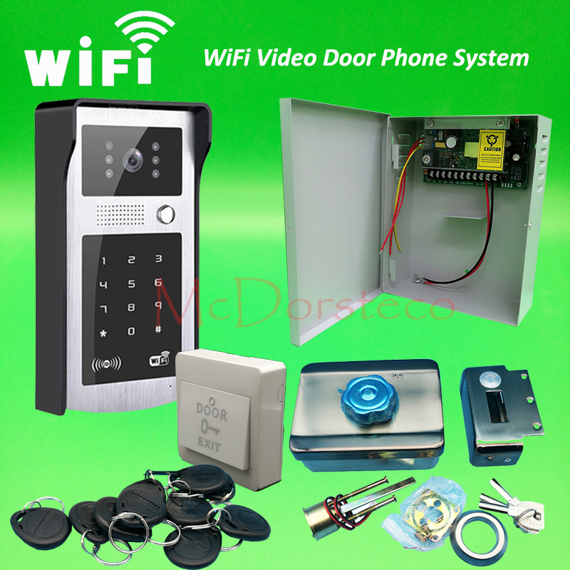 Android ISO App WIFI Video Door Phone RFID & Code Keypad Doorbell Electric Rim Lock System + Back up Battery function