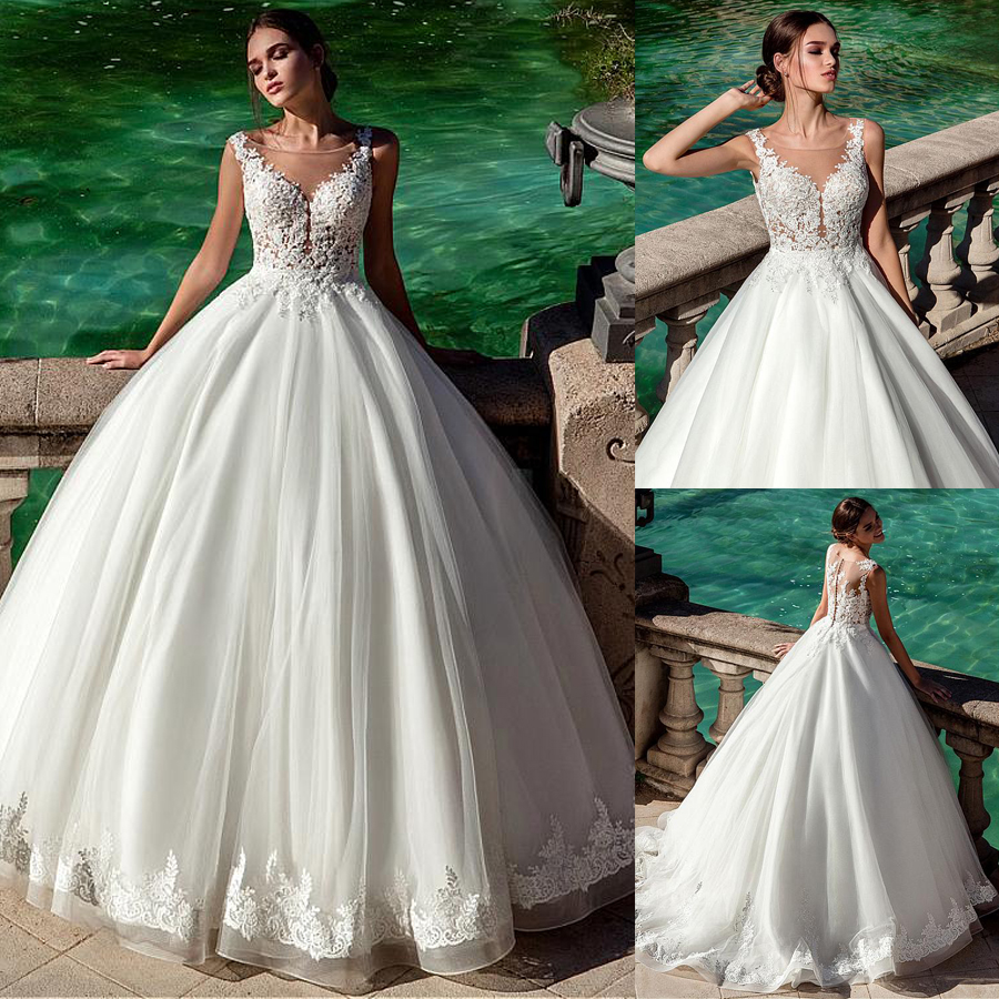 Gorgeous Tulle Scoop Neckline Ball Gown Wedding Dress With Lace Appliques  Bridal Gown Vestido De Madrinha