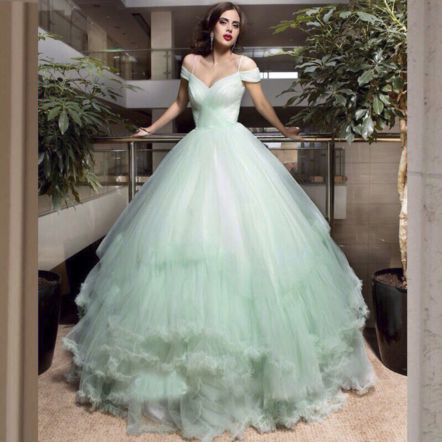 Light Green Lace Wedding Dresses 2017 Custom Made Cap Sleeve Ball Gown Tulle Women Marry