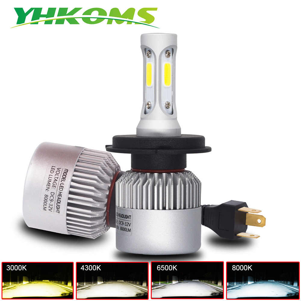 YHKOMS H4 LED Bulb H7 H1 H3 H8 H9 H11 H13 9005 HB3 9006 HB4 880 881 H27 3000K 4300K 8000K Auto Headlamp COB Car Light LED Lamp