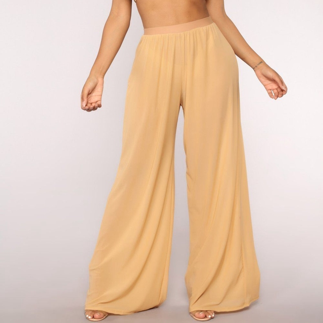 See Through Boho Wide Leg High Waisted Beach Pants