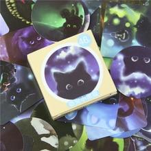 46 Pcs box Cute Black Meng Cat Mini Paper Stickers Decoration Diy Diary Scrapbooking Seal Sticker