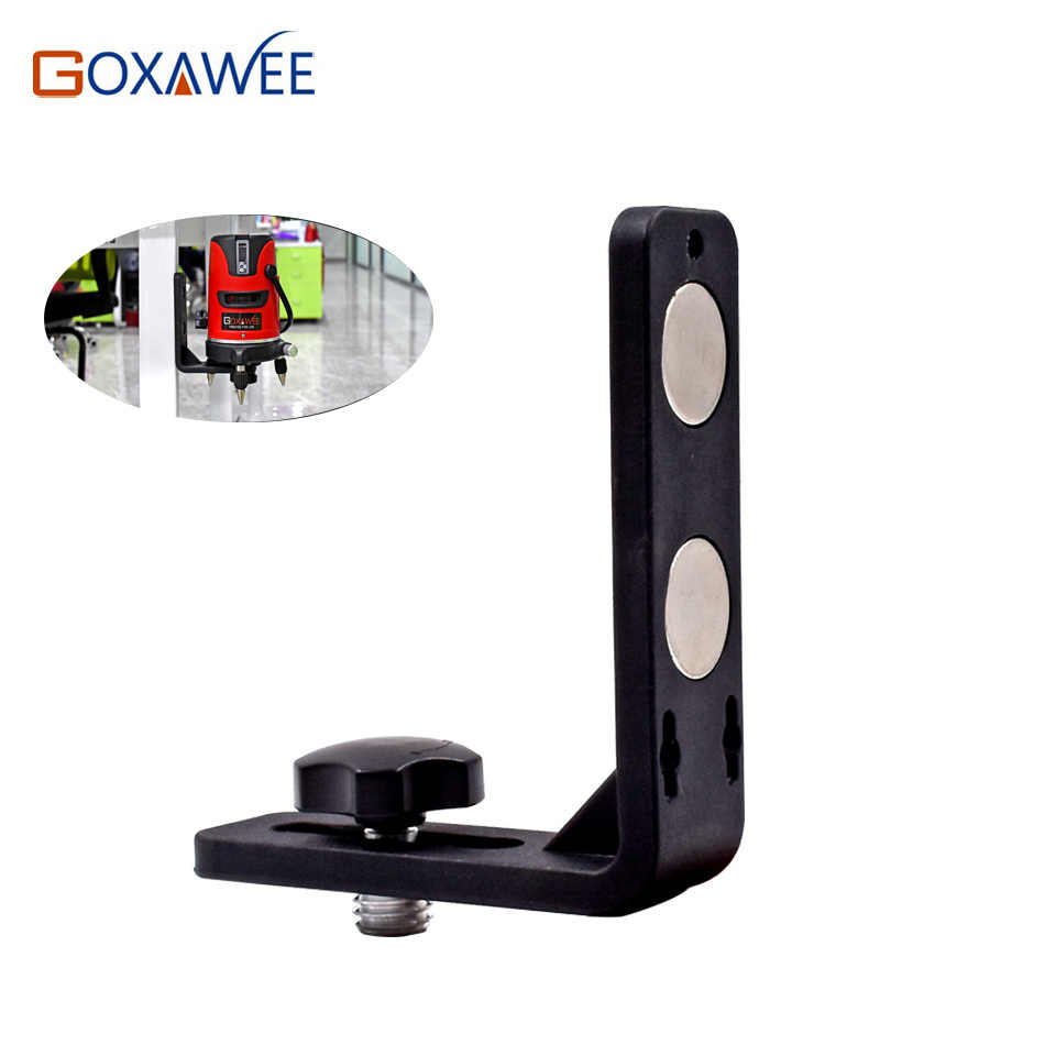 "GOXAWEE 5/8"" Laser Level Universal L-Bracket Super Strong Iron Magnet Adsorption Stand 360 5 lines Degree Laser Level Tripod"