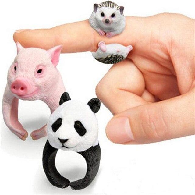 Lovely Fashion 3D Hewan Kecil Cincin Adjustable Terbuka Landak Tupai Babi Panda Arctic Tengah Jari Telunjuk Rings bague homme