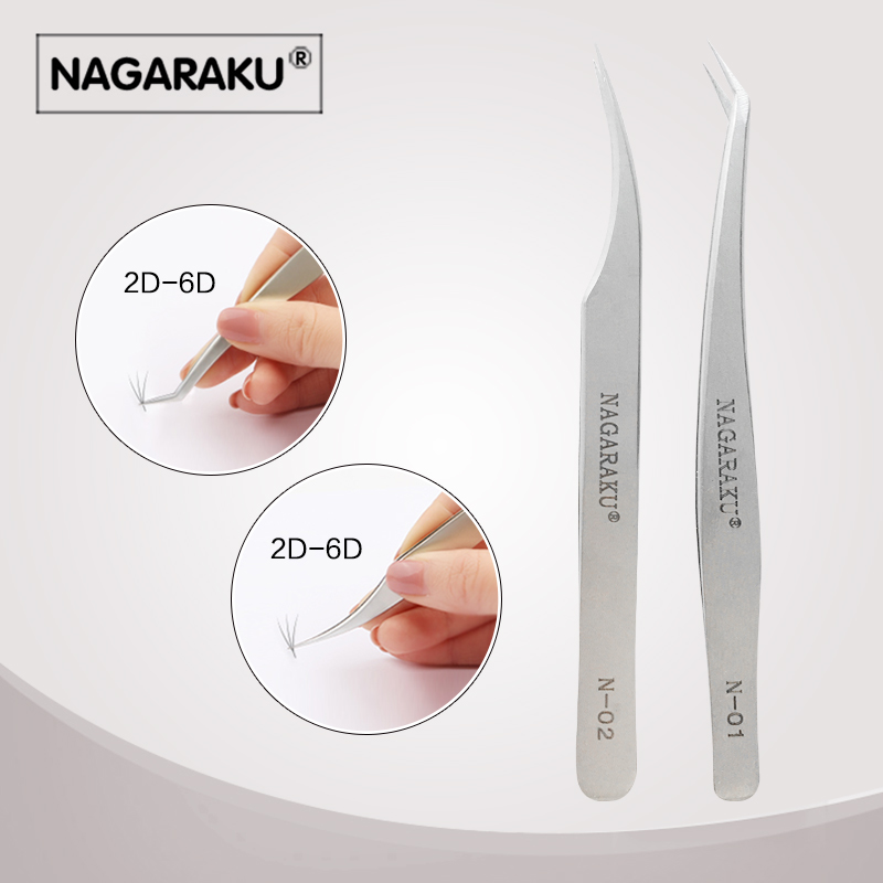 NAGARAKU new tweezers 2pcs set for eyelash extension professional professional tweezers for divide volume eyelash vetus precision individual eyelash tweezers eyelashes tweezers professional lashes extension tweezers tool pink 4 pcs set