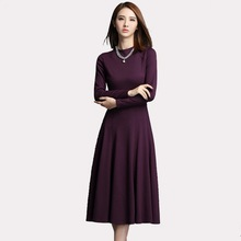 Women Elegant Wine Red A-Line Slim Stretch Basic Long Dress  Ladies Spring Long Sleeve Round Neck One-piece Dresses 123