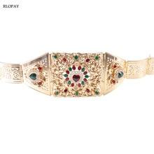Fashion Gold Metal Waist Chain with Rhinestones Love Heart Design