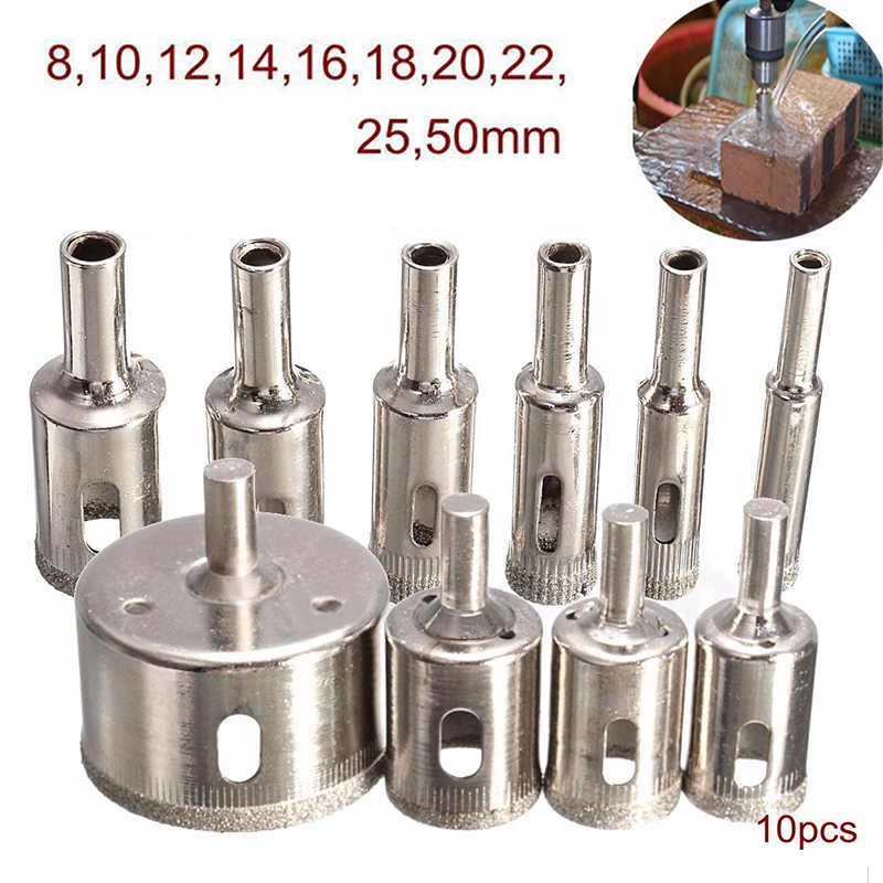 10pcs 8-50mm Diamond Coated Hole Saw Drill Bit Set for Tile Ceramic Marble Glass Tools 10pcs set diamond tool drill bit hole saw for glass ceramic marble tile 3 50mm power tool