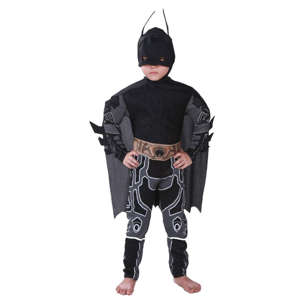 Costume 2018 Kids Deluxe Muscle Dark Knight Batman Child Halloween Party Fancy Dress Boys Superhero Carnival Cosplay Costume