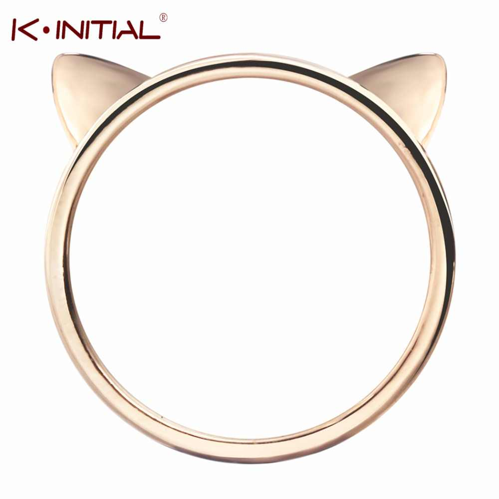 Kinitial New Fashion Cat Head Ring Cute Small Animal Cute Kitty Cat Ear Rings for Women Gift Jewelry Wholesale