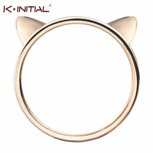 Kinitial New Fashion Cat Head Ring Cute Small Animal Cute Kitty Cat Ear Rings for Women Gift Jewelry Wholesale(China)