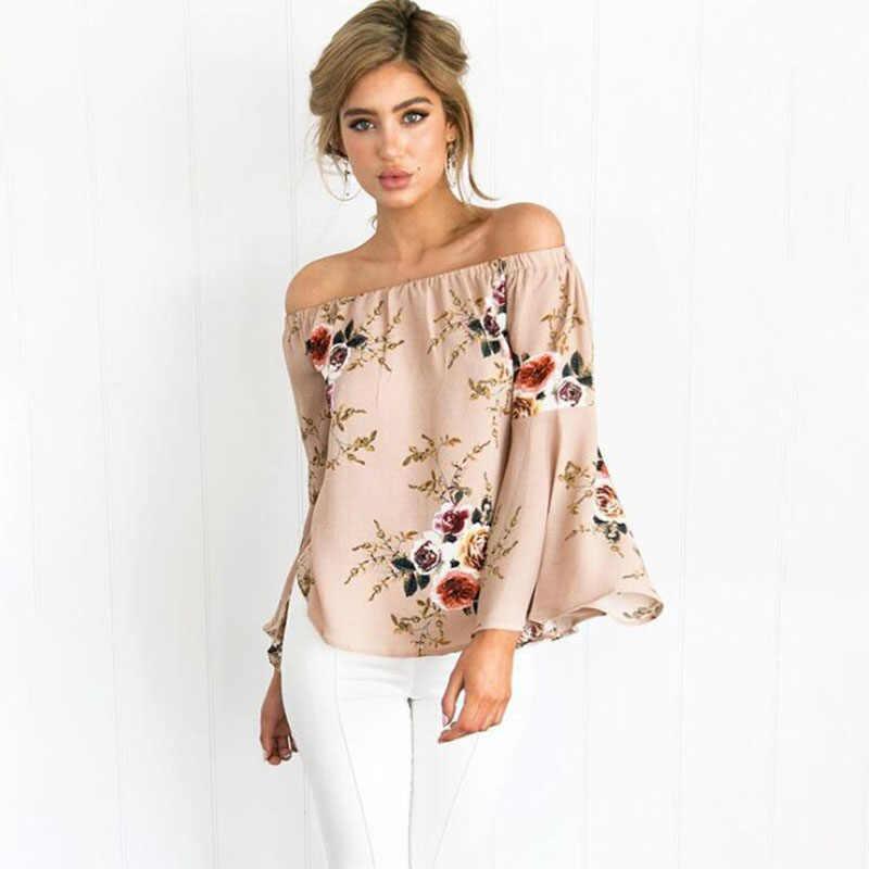 Повседневная Свободная блуза с вырезом лодочкой летняя рубашка женская сексуальная с длинным рукавом с расклешенными рукавами модная блузка с цветочным принтом Blusas с открытыми плечами Топ