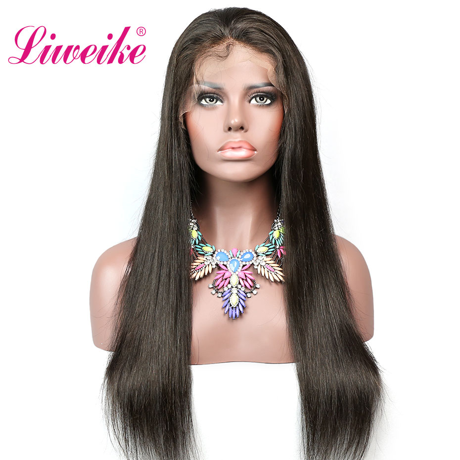 Liweike Straight Remy Hair Lace Front Wig For Black Women Brazilian Lace Frontal Human Hair 1B
