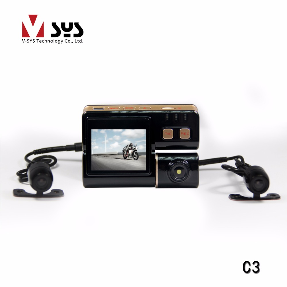V-sys 2 Channel C3 Motorcycle DVR Dual Lens Action Camera Scooter Black Box with Waterproof Front and Rear View Cameras
