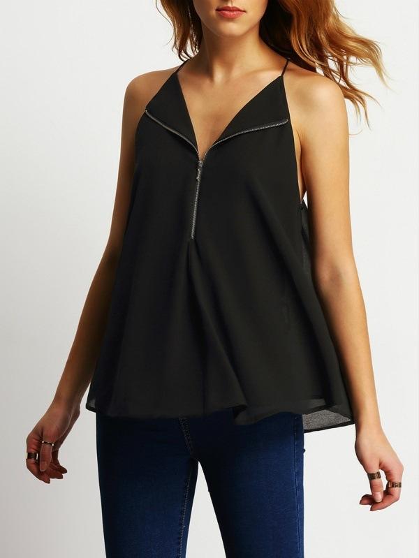 Summer Women Shirts 2019 Sexy Ladies Sleeveless Halter Tops Zip up Spaghetti Strap Blouses V neck Harajuku Chiffon Tops Female in Blouses amp Shirts from Women 39 s Clothing