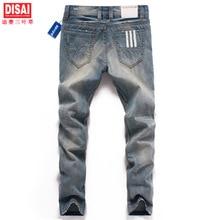Мужская мода волк печати стрейч джинсы Тонкий черный цвет прямые брюки Длинные брюки