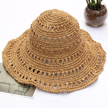 MIARA.L Foldable all-purpose solid color hand-crochet straw hat for women summer beach holiday sun hat outdoor hollow-out