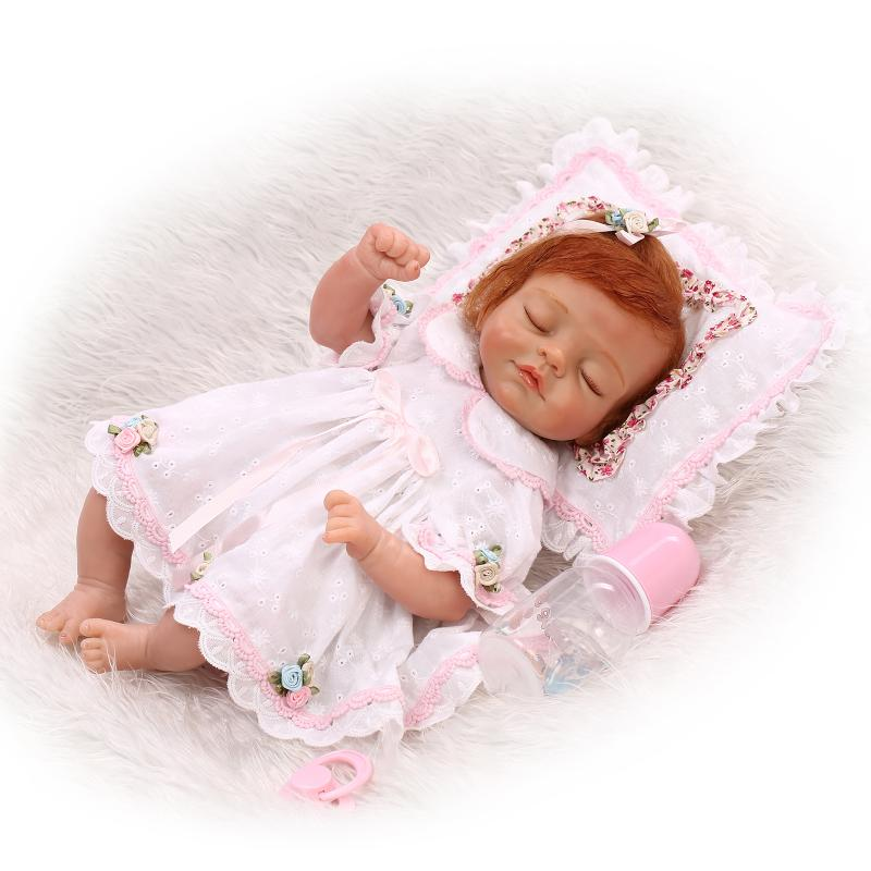 Soft silicone reborn baby doll toys lifelike 45cm vinyl reborn babies play house bedtime toy high-end Girls Curly Mohair Gifts high end soft vinyl reborn doll 55cm reborn baby toys kids birthday gifts play house diy for child juguetes